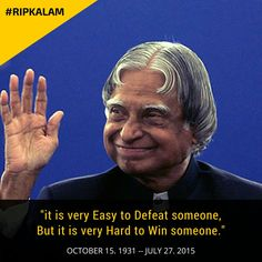 It is very easy to defeat someone, but it is very hard to win someone. Done Quotes, Best Quotes, Awesome Quotes, Kalam Quotes, Abdul Kalam, Simple Quotes, Timeline Photos, Of My Life, Funny Pictures