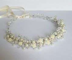 Ivory Flower Bridal Headpiece,Wedding Headpiece,Roses Crown,Pearl Bridal Headpiece,Bridal Hair Accessories,Flower Girls,Headband by CyShell by CyShell on Etsy