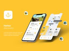 Harbors Discovery App - Freebie Lets boat owners discover new safe natural harbors and share visited harbors with the community Hope you like it and Appreciate it. Ui Ux Design, Interface Design, User Interface, Email Design, Flat Design, Web Layout, Layout Design, Website Layout, Ui Portfolio