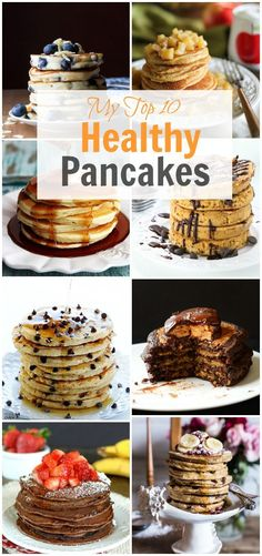 Start your morning off right with one of my top 10 healthy pancakes. On this roundup recipe, there are gluten free, dairy free, whole wheat and low calorie pancakes for all tastes. Breakfast And Brunch, Breakfast Ideas, Detox Breakfast, Yummy Recipes, Cooking Recipes, Yummy Food, Tasty, Cooking Bacon, Delicious Dishes