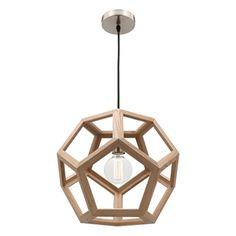 Picture of Peeta 1 Light Large Natural Timber Pendant (MG4231L) Mercator Lighting
