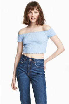 Top hombro descubierto - Azul claro - MUJER | H&M ES 1