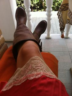 Lace Dress with brown leather boots!  Lovely look.