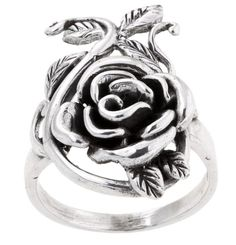 Display a rosy look with the vintage style of this silver rose ringRing finely crafted in sterling silverPerfect addition to your jewelry collection