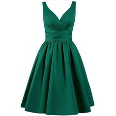 Emerald Green Satin Knee Length A-Line Evening Dress featuring Plunge... ❤ liked on Polyvore featuring dresses, knee length cocktail dresses, a line dress, satin a line dress, knee high dresses and a line knee length dress