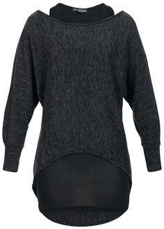 Styleboom Fashion Damen Fledermaus Shirt 2in1 hinten länger schwarz melange - 77onlineshop