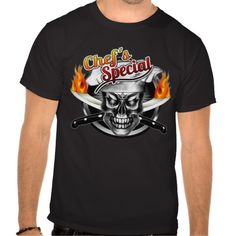 """T-shirt features a cool and chef skull wearing his floppy chef hat, with sharp crossed flaming chef knives, ready to cook up some killer food. Entitled """"Chef's Special,"""" this shirt is perfect as a gift for the head chef, sous chef, line cook, home cook, or any culinary professional with a fierce passion for cooking. Visit www.zazzle.com/thechefshoppe to see more cool culinary themed skulls."""