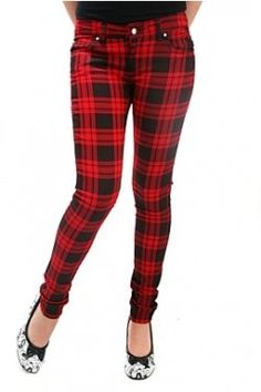 hot topic pants | ... Plaid Split Leg Skinny Jeans SKU : 709503 ...