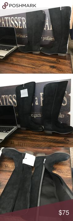"""Franco Sarto Riding boots (wide calf) Nubuck leather upper 16½""""-16"""" front to back shaft height, inside zipper 14"""" calf circumference, back topline hidden elastic panel for stretch fit Burnished round toe Fabric lining 1"""" stacked block heel Synthetic sole Franco Sarto Shoes Over the Knee Boots"""