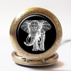 Vintage Aztec Tribal Elephant Animal Hippie Hand Craft Handmade Silver or Gold Stainless Steel Quartz Pocket Watch Tribal Elephant, Vintage Elephant, Quartz Pocket Watch, Silver Pocket Watch, Pocket Watch Necklace, Handmade Silver, Aztec, Rings For Men, Etsy
