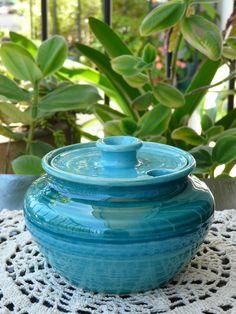 Azucarera turquesa de cerámica. (Obra Inspiración Sustentable)