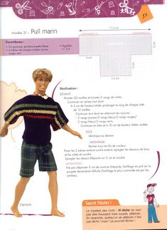 Barbie Clothes Patterns, Doll Patterns, Clothing Patterns, Barbie Et Ken, Ken Doll, Baby Alpaca, Easy Knitting, Fabric Dolls, Miniature Dolls