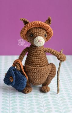 Crochet kangaroo pattern, Amigurumi kangaroo pattern, kangaroo crochet pattern, little crochet kangaroo