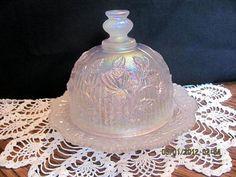 Domed Butter Dish White Carnival Glass Lustre by VintageLoversShop, $35.00