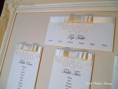 Luxury Lace Effect Wedding Table Plan by QuillsWeddingFavours www.quillsweddingstationery.co.uk https://www.facebook.com/pages/Quills-Wedding-Stationery/278003989009997