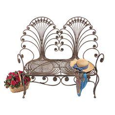 Design Toscano Grand Peacock Metal Garden Loveseat Bench