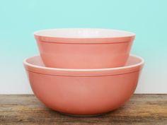 Vintage Pyrex Pink Nesting Bowls 404 and 403 circa 1950s, Bubblegum Pink Mixing Bowls, Rockabilly Retro Kitchen