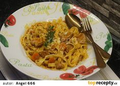 Krůtí ragú s nudlemi recept - TopRecepty.cz Spaghetti, Pasta, Ethnic Recipes, Food, Essen, Meals, Yemek, Noodle, Eten