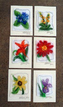 Felted Flower Cards - Cloth Paper Scissors- Garden Party Invitations I made for a party for my mother-in-law.