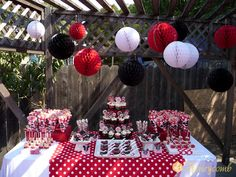 Black, red and white Disney...take some of these b-day party decor ideas and use at wedding food tables!!