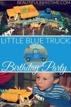 Little Blue Truck Birthday Party and Gift Box Playset ideas for 3 year old boys! Third Birthday, 3rd Birthday Parties, Birthday Party Invitations, Boy Birthday, Birthday Ideas, Theme Parties, Husband Birthday, 3 Year Old Activities, Birthday Activities