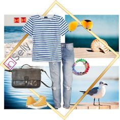 """Seaside Story"" by inselly on Polyvore. Relaxed outfit for a seaside walk inspired by striped tee, messenger bag and aviators available at inSelly.com #fashionset #boyfriendjeans #sunglasses"