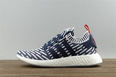 826b12c0422e8 Adidas NMD Primeknit Blue Stripe Running Shoes For Women