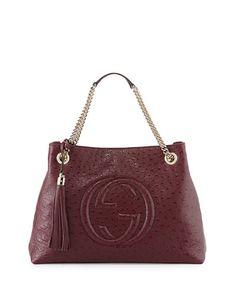 V1XWD Gucci Soho Ostrich Shoulder Bag, Burgundy