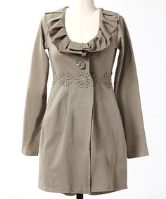 Gray Ruffle Vintage Girl Coat by Down East Basics on #zulily