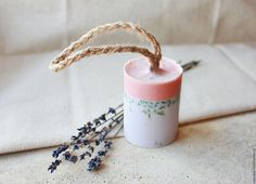 Лавандовое мыло на веревке - сиреневый, розовый, лаванда, мыло, мыло ручной работы #soap