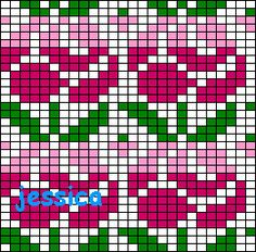 Floral all over pattern / chart for cross stitch, crochet, knitting, knotting, beading, weaving, pixel art, micro macrame, and other crafting projects.