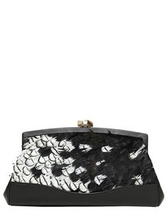 DESMO - FEATHERS NAPPA LEATHER CLUTCH - LUISAVIAROMA - LUXURY SHOPPING WORLDWIDE SHIPPING - FLORENCE