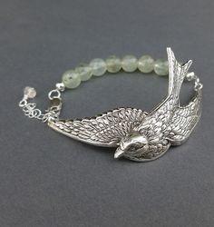 silver+sparrow+bracelet+cuff+with+prehnite+por+cravejewelrydesign,+$30,00