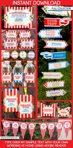★ INSTANT DOWNLOAD ★ Circus or Carnival Party Printables, Invitations & Decorations! Personalize the templates easily at home & get your party started now!