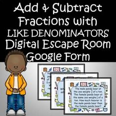 Adding and Subtracting Fractions with Like Denominators Math Escape Room Review Digital Math Assessment Google Form No Prep Self GradeUse as a Warm Up, Exit Ticket, Class work, in an math CENTER or a Quick AssessmentSolve 10 Problems - Check out Preview for ExamplesGreat for a quick Review or Quick ... Adding And Subtracting Fractions, Math Fractions, Mega Math, 4th Grade Activities, Math Assessment, Math Words, Math Word Problems, Escape Room, Math Centers