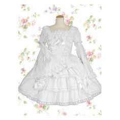 Lolita dress sweet white lace bow cotton