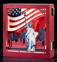Pop up Card 3d card, Christmas New York gift The Statue of Liberty United States Gifts Independence Day Souvenir USA Flag USA gift for tourists #usa #usacard #newyork  #3dart