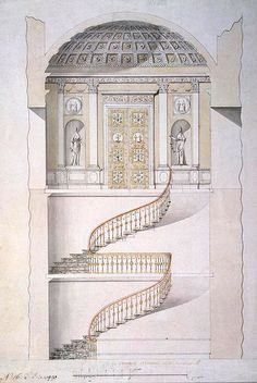 Charles Cameron : The projected stairs of Catherine The Great's Cold Baths Pavilion in Tsarskoye Selo, Saint Petersburg, Russia.