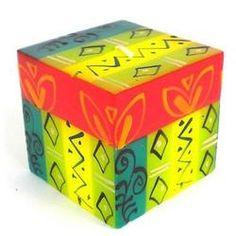 Hand-Painted Cube Candle - Matuko Design Handmade and Fair Trade