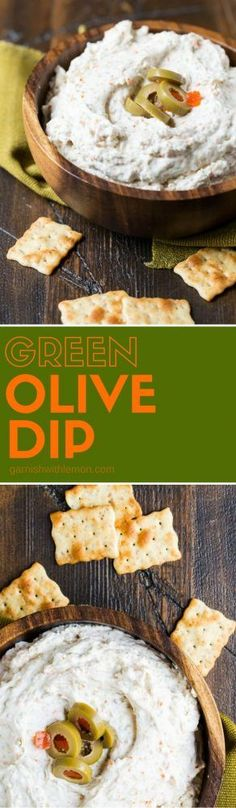 This tangy Green Olive Dip will be the hit of your next party. It comes together in minutes and always disappears. This tangy Green Olive Dip will be the hit of your next party. It comes together in minutes and always disappears. Quick And Easy Appetizers, Yummy Appetizers, Appetizer Recipes, Party Appetizers, Dip Recipes, Snack Recipes, Cooking Recipes, Recipies, Olive Recipes