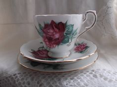 Paragon cup saucer and plate trio  Christian by SwallowCAntiques