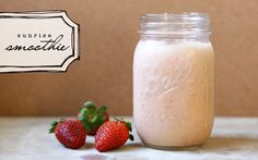 Here's what you'll need:  1/2 cup milk  1/2 cup water  1/4 frozen orange juice concentrate (just slice right through the tube)  1/2 banana - best with brown spots  3 strawberrries  1 teaspoon vanilla  1 tablespoon ground oatmeal (I grind up about a 1/2 cup of oatmeal at a time and keep it in a jar to throw in smoothies)