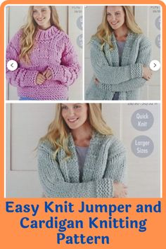 There's something irresistible about chunky jumpers and cardigans. Wearing one is like being in a warm and loving hug with no end. They are a must-have and a great challenge to intermediary knitters. Experienced ones will have an easier time completing the sweater. These easy to make jumpers and cardigans are not only warm and great way to keep the cold weather at bay but also deadly cute. #cardiganpatterns#knittedcardiganpattern#knittingpatterns#easyknitting#knittingathome#easycardiganpatterns Jumper Patterns, Cardigan Pattern, Knitting Patterns, Sewing Patterns, Cardigans, Knit Sweaters, Quick Knits, Wrap Cardigan, Chunky Yarn