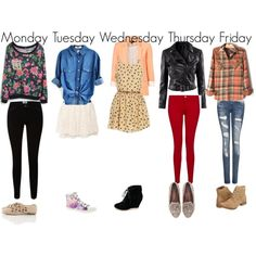 """Cute Outfits for School- Weekly Planner"" by clairebearxoxo325 on Polyvore"