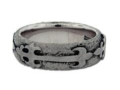 Scott Kay Wedding Band w/ Engraved Cross and Hammered Finish
