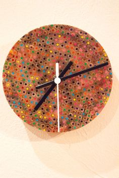 Colour Pencil Resin Turned Wall Clock for office by BusbysWorkshop
