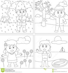 The Four Seasons Colouring Pages | Preschool | Seasons worksheets ...