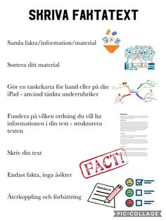 Skriva faktatext 💻📝 | Välkomna till Höjdens fyror! Learn Swedish, Swedish Language, Good Student, Teaching Materials, Study Tips, Back To School, Classroom, Writing, Education
