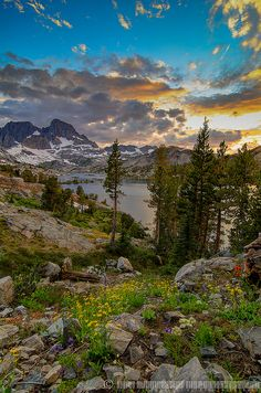 Sunset behind Banner Peak and Garnet Lake, Ansel Adams Wilderness, California.