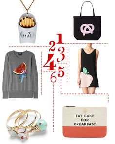 {1. Coca-cola pretzel tote bag from Jack Spade, 2. french fry necklace from Asos, 3. Moschino Cheap and Chic apple dress from Selfridges, 4. Markus Lupfer sequined watermelon sweater from Net-a-Porter, 5. Kate Spade pouch, 6. pastry parlor rings from...
